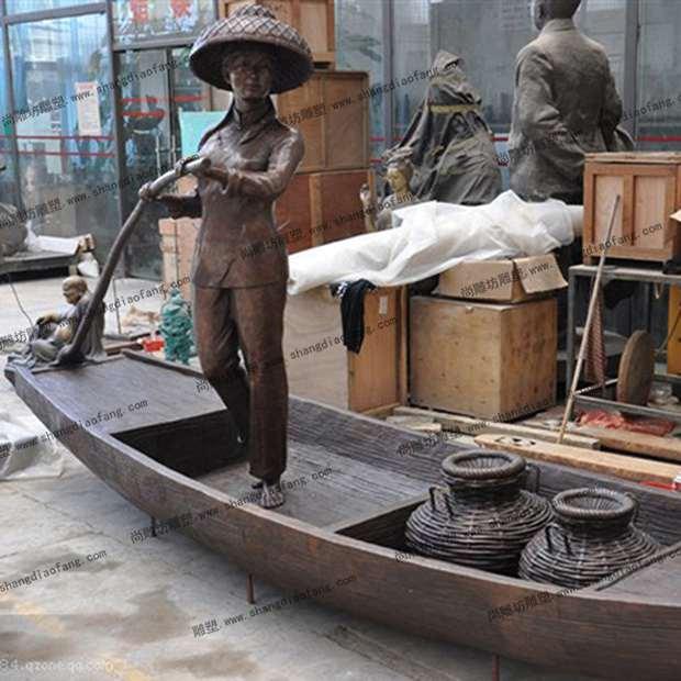 渔民渔船雕塑1