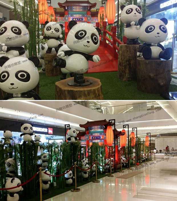 玻璃钢熊猫雕塑:小熊猫
