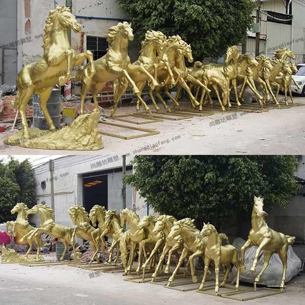 十二款不同造型镀铜玻璃钢马雕塑