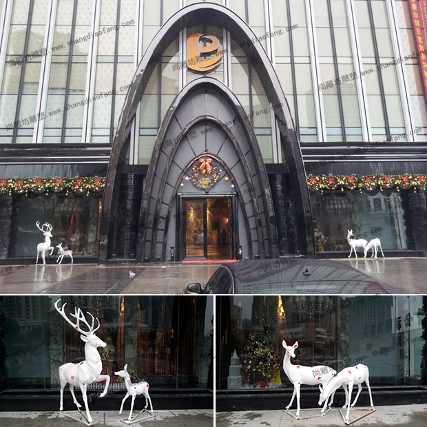 重庆北辰酒店装饰玻璃钢彩绘鹿雕塑图一