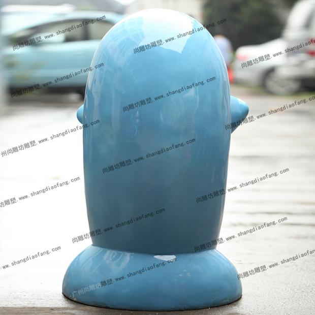 玻璃钢垃圾桶海豚款式二背面